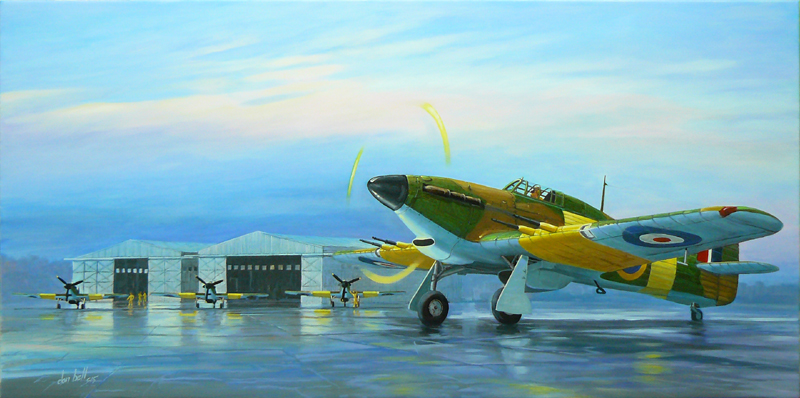 "Hawker Hurricanes MK-IIC depicted fictitiously during an overnight stopover at 42 Air School in Port Elizabeth, South Africa during WW2. The Bellman hangers can be seen in the background. Only one Bellman now remains which forms part of the SAAF Museum in Port Elizabeth. The painting can be viewed in the SAAF Museum Art Gallery. Size: 1000 x 500mm. Price: R3333.00. Notes by Paul Stringer: Friend of the PE SAAF Museum & currently authoring a book on the 42AS. The Hurricanes at Port Elizabeth were from ""B"" Flight of 11 Operational Training Unit, SAAF, which had flown from St Albans since June 1944, but were transferred to the north (terminal building) side of P.E airport in February 1945.  11 OTU was disbanded on 28th July 1945 with some of its Hurricanes retuning to Waterkloof, but most being disposed of by 7 A.D. (where the Air Force Base is now) 42 A.S. never flew Hurricanes as far as I know."
