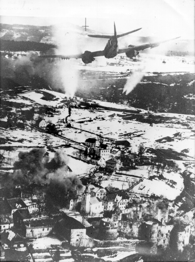 This photograph is widely recognised as one of the most famous Beaufighter air- strike photo of WWII. It shows my plane attacking the Nazi-held medieval walled town of Zuzenberk. That attack by 8 of our 19 South African Air Force Beaufighter squadron resulted in the Yugoslav Partisans recapturing their town that very day. (Steve Stevens)